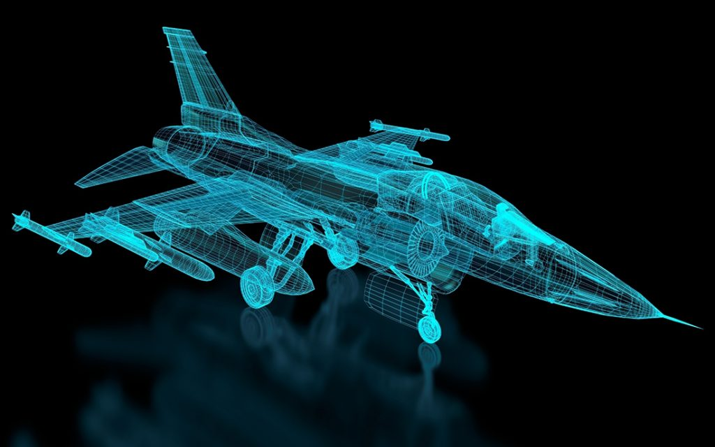 Wire frame image of advanced jet fighter